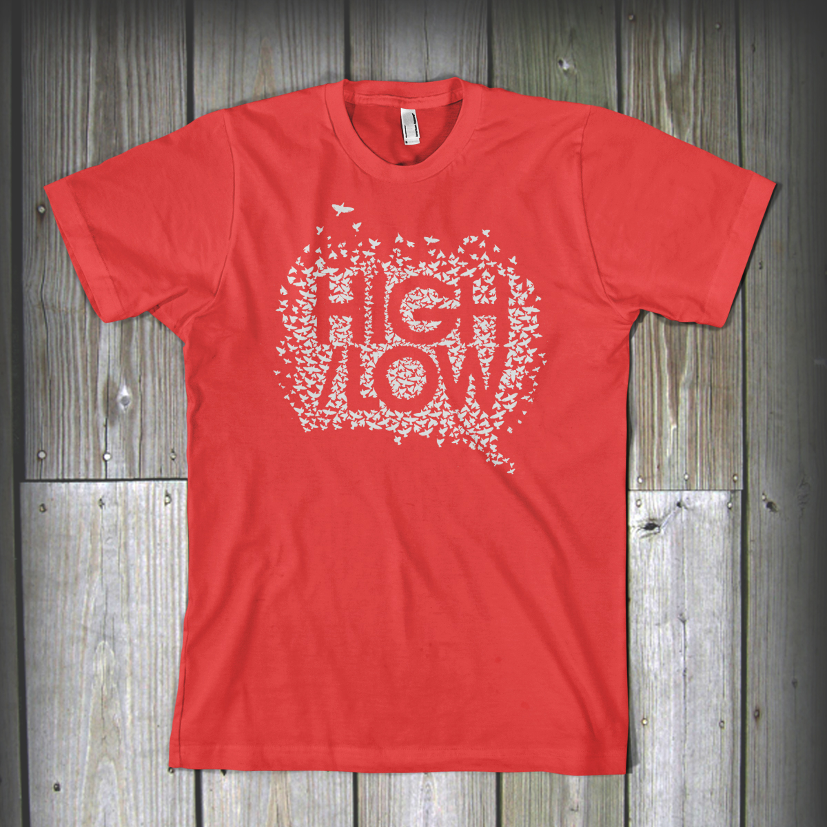highlow-tshirt-bird-logo-red